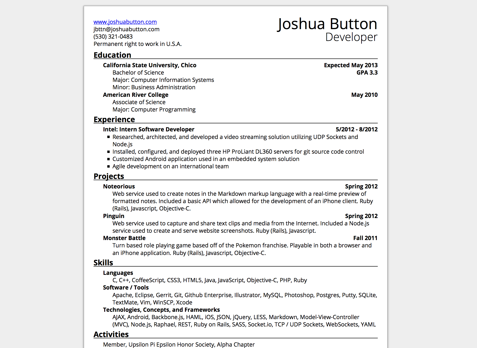 Version 1 of resume